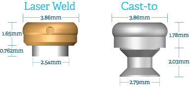 laser weld and cast-to dimensions