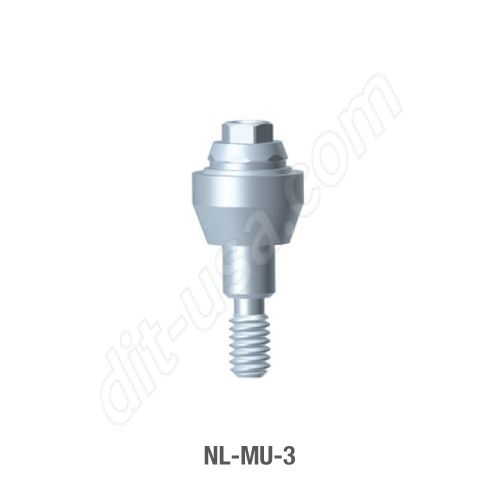 3mm Cuff Straight Multi-Unit Abutment for Narrow Platform Conical Connection.